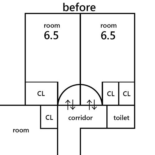 部屋の扉の位置 ~6.5畳を6畳に~①