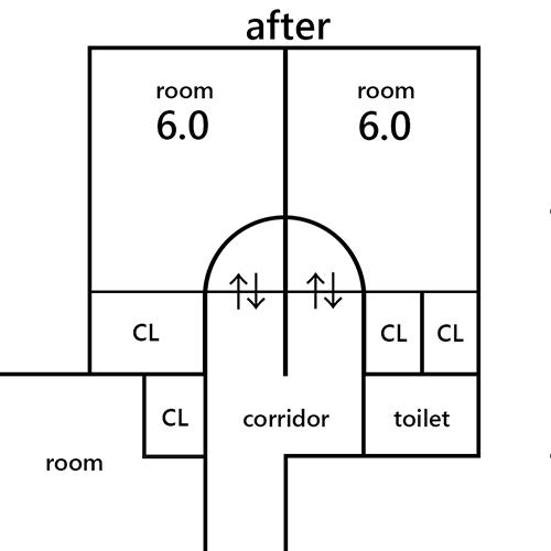部屋の扉の位置 ~6.5畳を6畳に~②