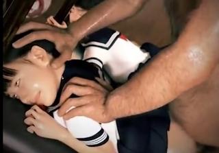 頭を掴まれバックで無理やりハメられる制服少女
