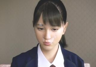[最先端3D]清楚系の制服少女がザーメンぶっかけられて顔面ドロドロww