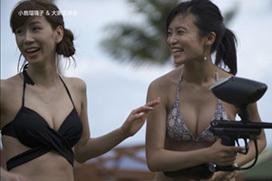 タビフクで小島瑠璃子と大家志津香のスケベ水着