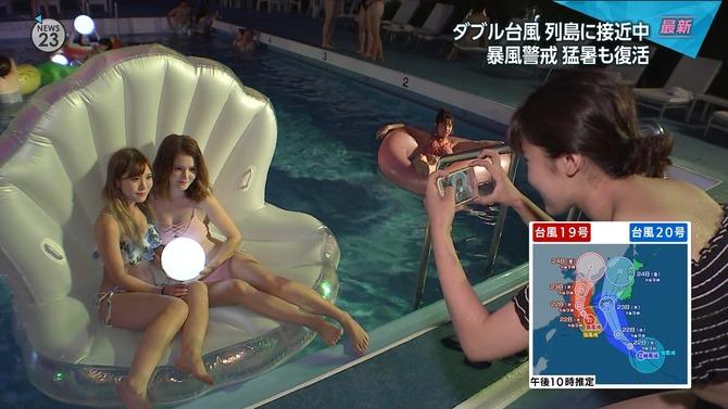 【画像】NEWS23でナイトプールに来ている水着のギャルがいっぱい映る