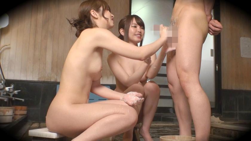 この可愛い系女子二人がいきなり風呂に入ってきてちんこシゴイたり四つん這いでマンコ見せたりwwwwww