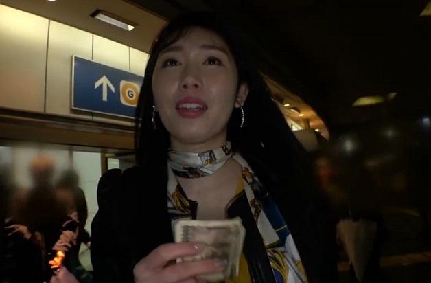 夜の渋谷で飲み会帰りの受付嬢に路上で¥渡してキス!口移しでアルコールを注入!¥ナンパされてそのままベッドイン!