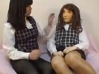 【フェチ】リアルフェイスOL女装!先輩に命令されて痴女レズプレイ!!