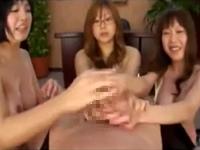 トリプル痴女手コキ射精後責め男潮噴き!