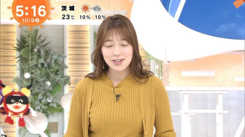 阿部華也子ちゃんのブラが透けそうなセーターおっぱい めざまし 181010