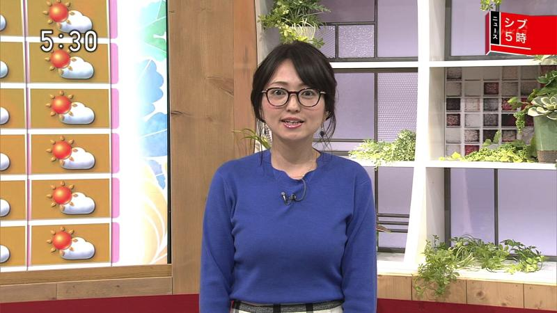 福岡良子のデカすぎるエロニットおっぱい シブ5時 181030