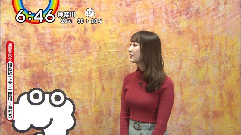 デカいニットおっぱいの團遥香ちゃんと胸チラ ZIP!     181018