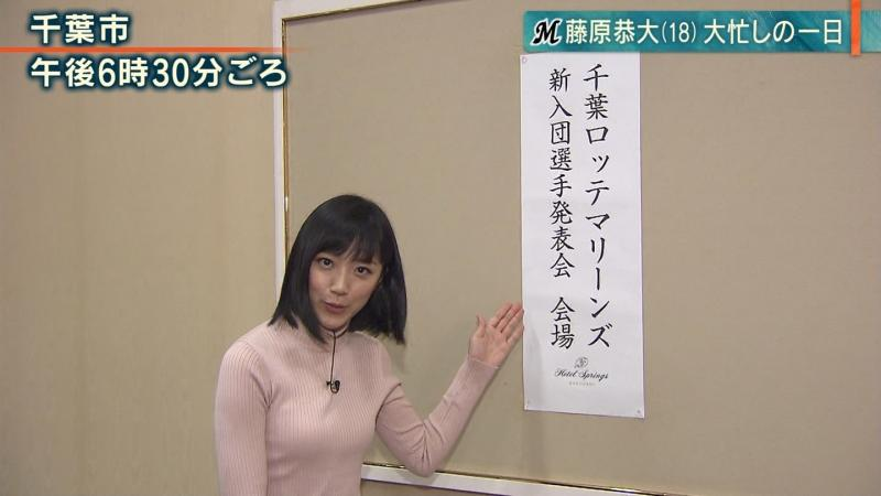 竹内由恵の乳首が透けそうなエロいニットおっぱい 報ステ 181205