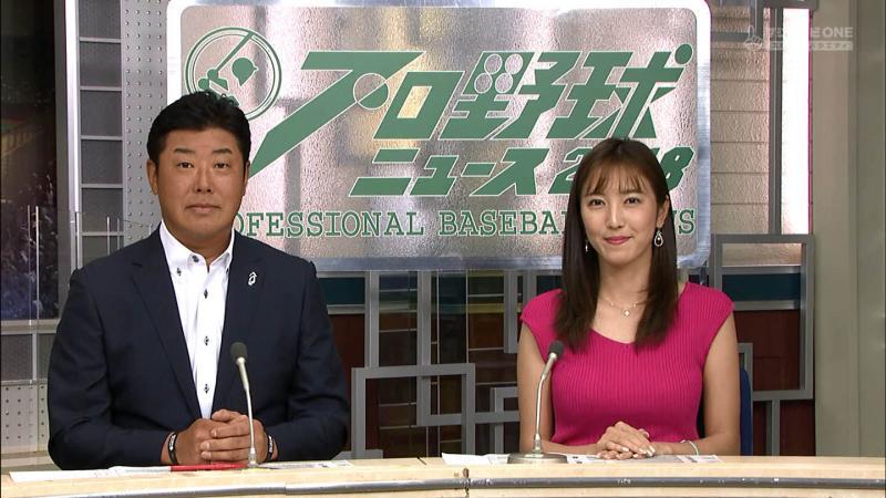 小澤陽子 エロいノースリおっぱい プロ野球ニュース 180818
