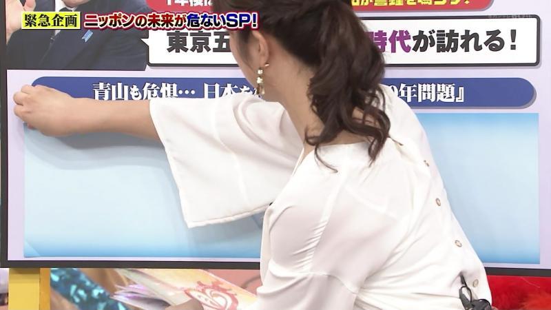 川田裕美さんブラ透けする 胸いっぱい 181021