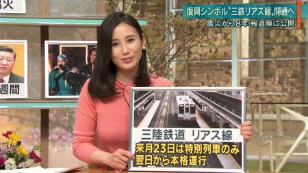 森川夕貴 エロニット巨乳 報ステ 190212