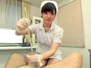 「悪いもの出しましょうね」検査中にM男の*道をズボズボ犯しながら手コキ抜きする痴女看護師 波瑠まいな
