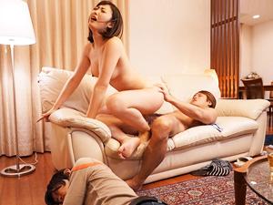 水野朝陽 寝ている夫の横で義弟にチンポで乱れる巨乳妻!!